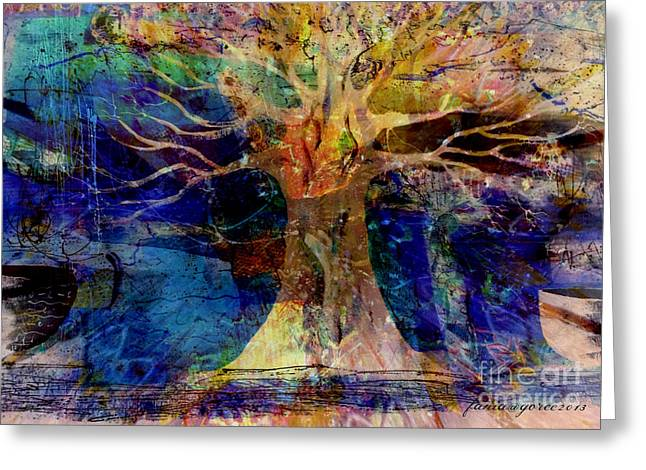 Diaspora Mixed Media Greeting Cards - Ancestral Place  Greeting Card by Fania Simon