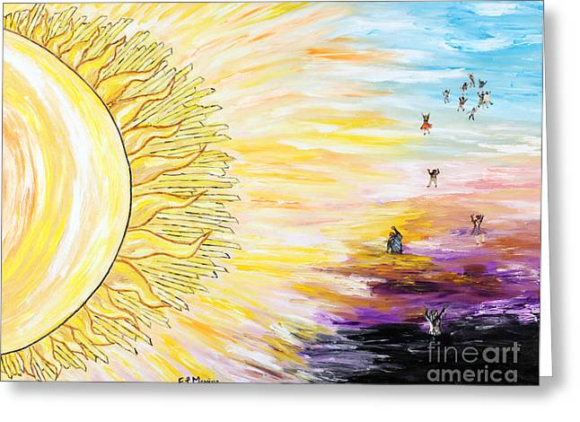 Sun Rays Paintings Greeting Cards - Anche per te sorgera il sole Greeting Card by Loredana Messina