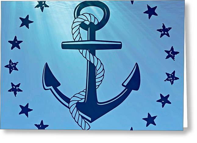Anchor Underwater Greeting Cards - Anchor and water Greeting Card by Mindy Bench