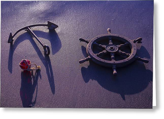 Combing Greeting Cards - Anchor At Low Tide Greeting Card by Garry Gay