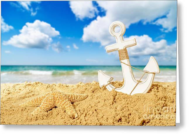 Golden Sand Greeting Cards - Anchor At The Beach Greeting Card by Amanda And Christopher Elwell