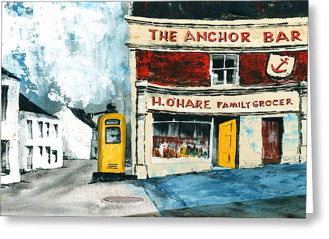Val Byrne Greeting Cards - Anchor Bar  Carlingford  Louth Greeting Card by Val Byrne