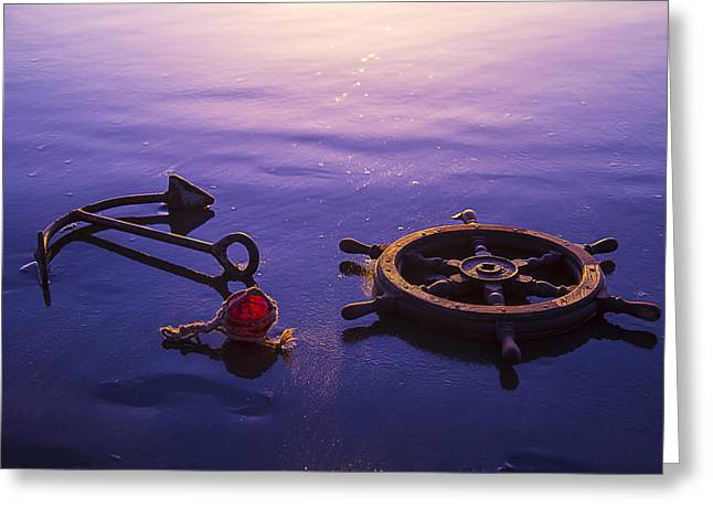 Wooden Ship Greeting Cards - Anchor Beach Greeting Card by Garry Gay
