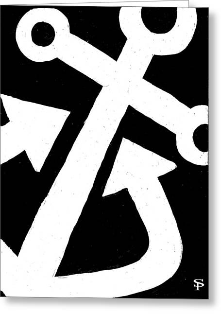 Anchor-black Greeting Card by Catherine Peters