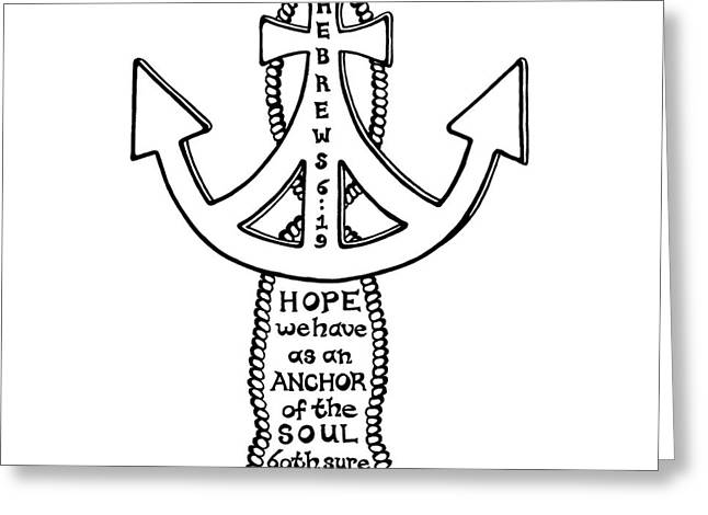 Pen And Paper Greeting Cards - Anchor Cross Greeting Card by Leigh Eldred