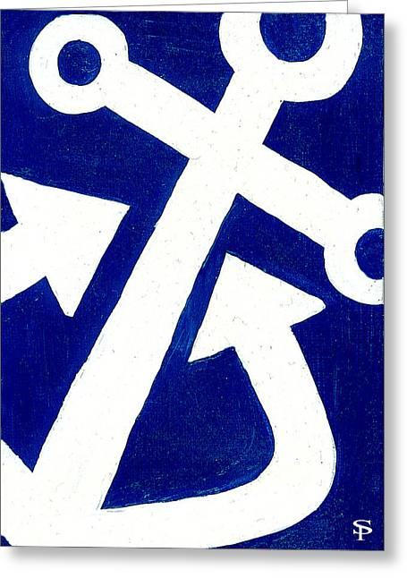 Anchor- Dark Blue Greeting Card by Catherine Peters