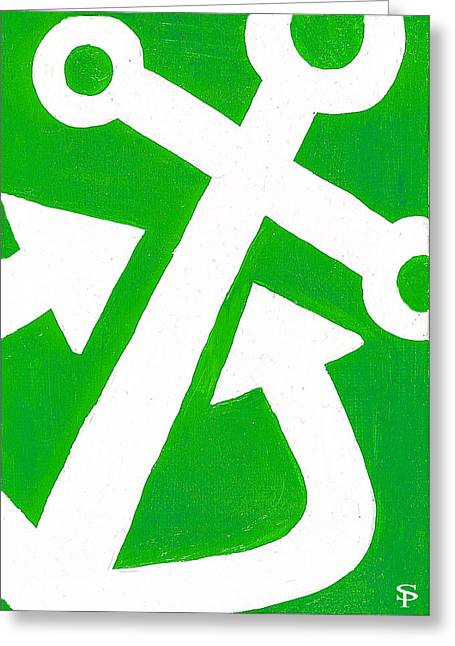 Anchor- Green Greeting Card by Catherine Peters