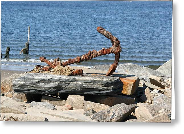 Breezy Greeting Cards - Anchor Greeting Card by Karen Silvestri