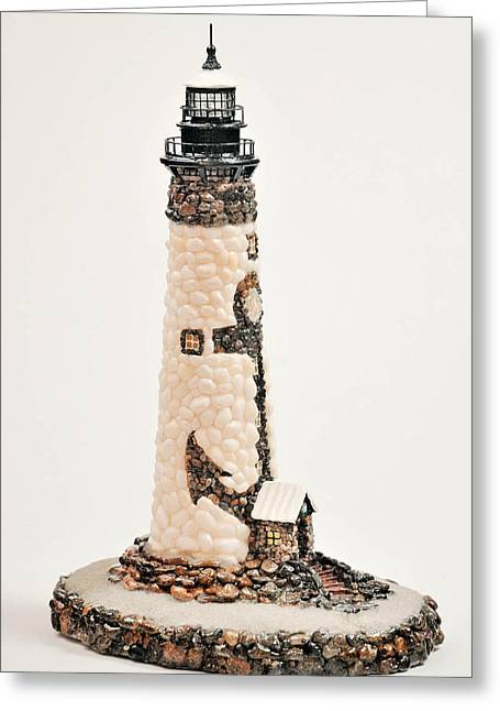 Seashore Sculptures Greeting Cards - Anchor Lighthouse Greeting Card by Seaside Artistry
