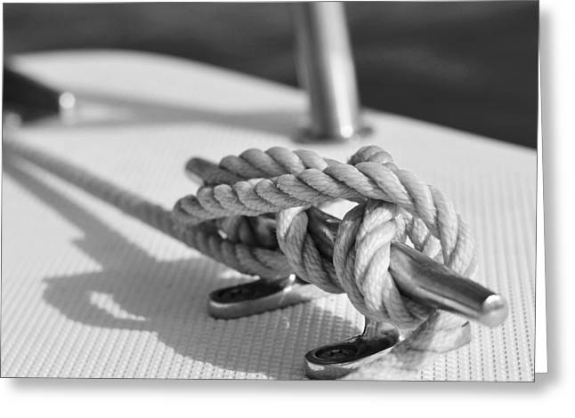 Sailboat Photos Greeting Cards - Anchor Line Greeting Card by Laura  Fasulo