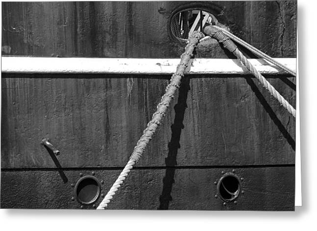 Port Holes Greeting Cards - Anchor Lines Greeting Card by Randall Nyhof