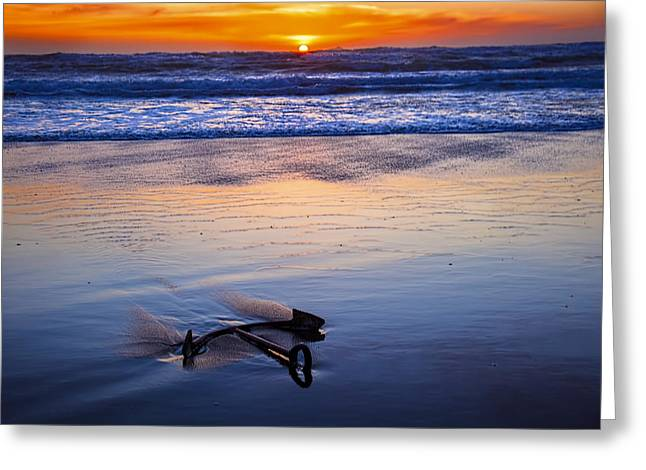 Wet Greeting Cards - Anchor Ocean Beach Greeting Card by Garry Gay