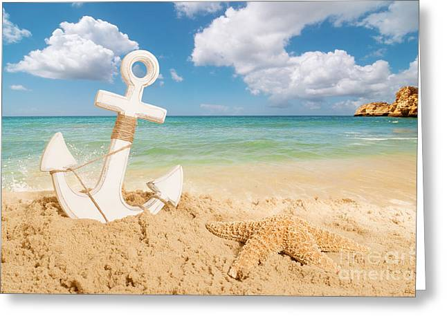 Rope Greeting Cards - Anchor On The Beach Greeting Card by Amanda And Christopher Elwell