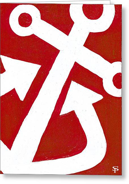 Anchor- Red Greeting Card by Catherine Peters