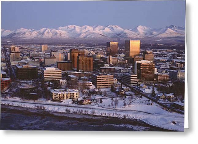 Ak Greeting Cards - Anchorage At The Base Of Chugach Mtns Greeting Card by Panoramic Images