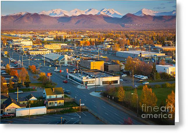 Alaskan Architecture Greeting Cards - Anchorage Autumn Greeting Card by Inge Johnsson