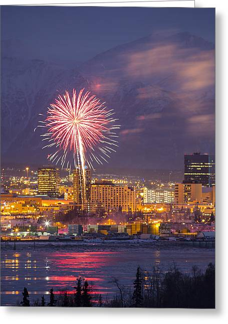 Fur Rendezvous Greeting Cards - Anchorage Fireworks Eight Greeting Card by Tim Grams