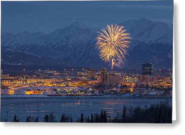 Fur Rendezvous Greeting Cards - Anchorage Fireworks Five Greeting Card by Tim Grams