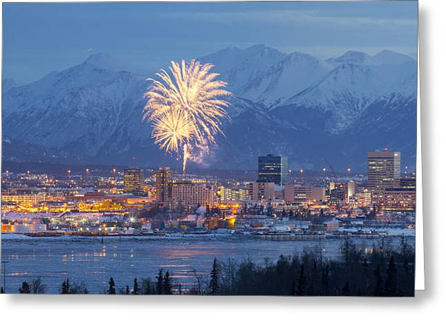 Fur Rendezvous Greeting Cards - Anchorage Fireworks Four Greeting Card by Tim Grams