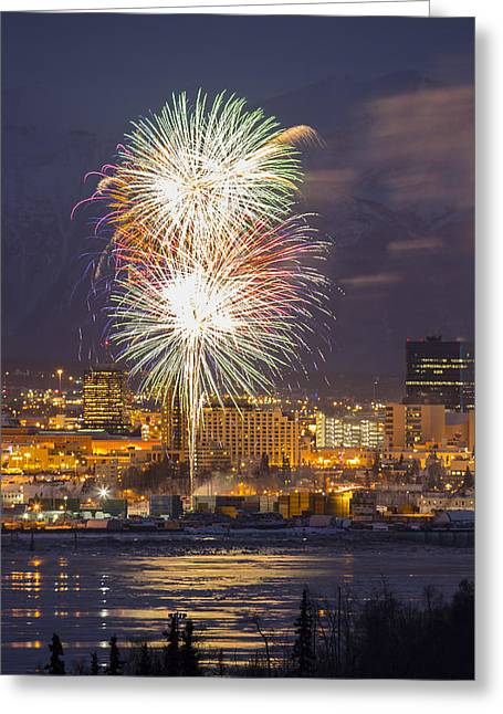 Pyrotechnics Greeting Cards - Anchorage Fireworks Nine Greeting Card by Tim Grams