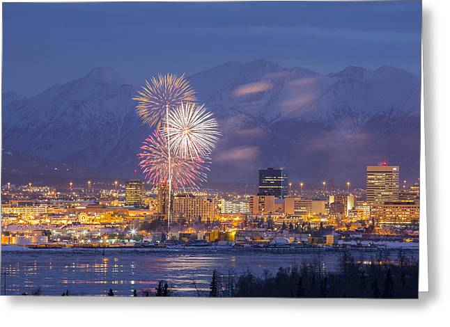 Pyrotechnics Greeting Cards - Anchorage Fireworks One Greeting Card by Tim Grams