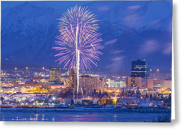 Pyrotechnics Greeting Cards - Anchorage Fireworks Seven Greeting Card by Tim Grams