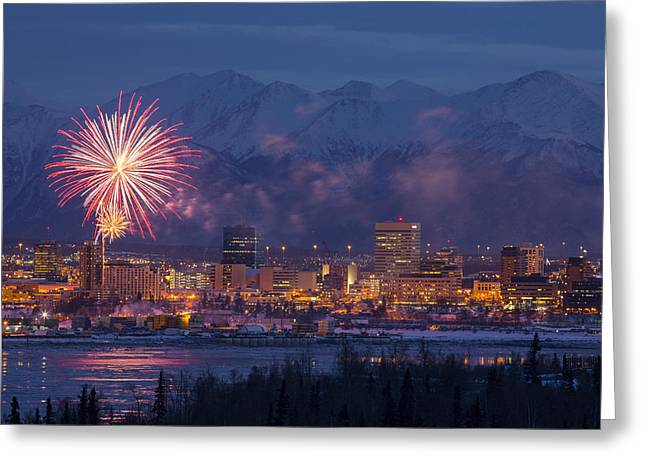 Pyrotechnics Greeting Cards - Anchorage Fireworks Six Greeting Card by Tim Grams