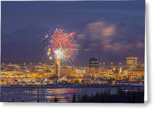 Fur Rendezvous Greeting Cards - Anchorage Fireworks Three Greeting Card by Tim Grams