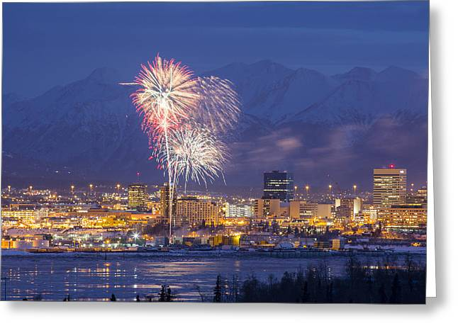 Pyrotechnics Greeting Cards - Anchorage Fireworks Two Greeting Card by Tim Grams