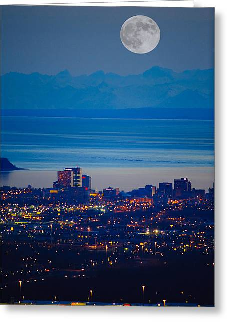 Twinkle Greeting Cards - Anchorage Skyline At Sunset With The Greeting Card by Michael Jones