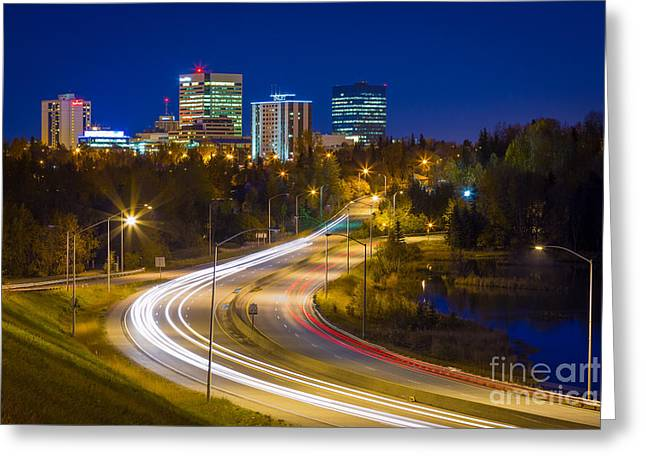 Alaskan Architecture Greeting Cards - Anchorage Skyline Greeting Card by Inge Johnsson