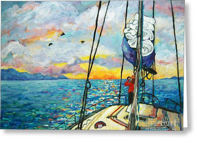 Blue Sailboats Greeting Cards - Anchored at Sunset Greeting Card by Peggy Johnson