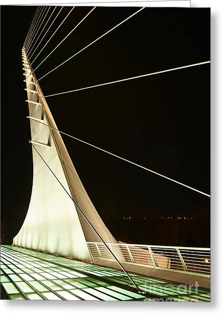 Translucent Light Greeting Cards - Anchored Sail - The unique and beautiful Sundial Bridge in Redding California. Greeting Card by Jamie Pham