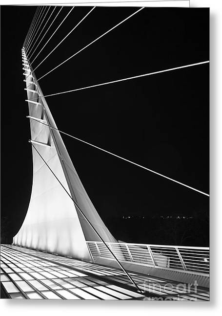 Anchored Sail - The Unique Sundial Bridge In Redding California. Greeting Card by Jamie Pham