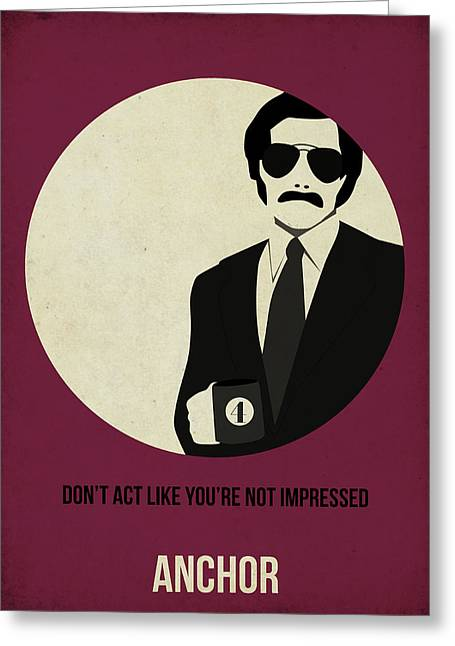 Burgundy Digital Art Greeting Cards - Anchorman Poster Greeting Card by Naxart Studio