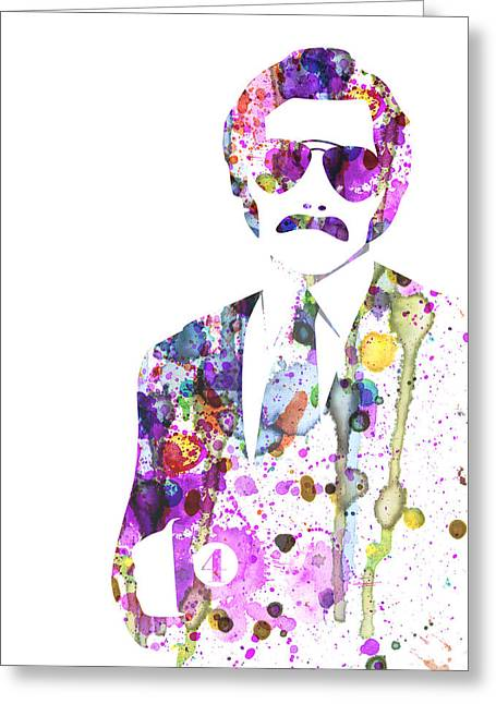 Anchorman Greeting Cards - Anchorman Watercolor Greeting Card by Naxart Studio