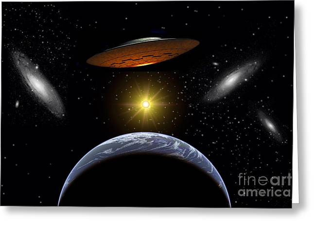 Luminous Globe Greeting Cards - Ancient Aliens Arriving Towards Earth Greeting Card by Stocktrek Images