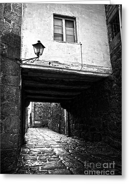 Old Street Greeting Cards - Ancient alley In Tui BW Greeting Card by RicardMN Photography