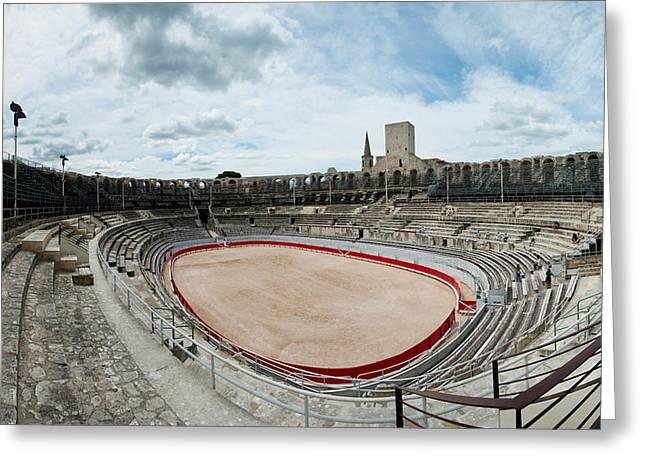 Arles Greeting Cards - Ancient Amphitheater In A City, Arles Greeting Card by Panoramic Images