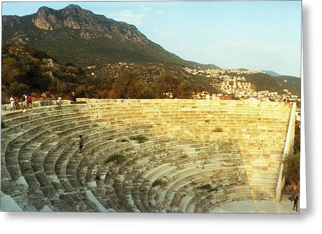 Civilization Greeting Cards - Ancient Antique Theater At Sunset Greeting Card by Panoramic Images