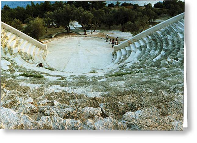 Civilization Greeting Cards - Ancient Antique Theater In Kas, Antalya Greeting Card by Panoramic Images
