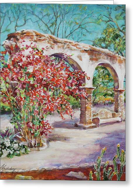Cement Court Greeting Cards - Ancient Arches at Mission San Juan Capistrano Greeting Card by Jan Mecklenburg
