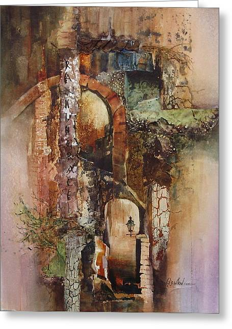 Award Mixed Media Greeting Cards - Ancient Arches Greeting Card by Grace Rankin