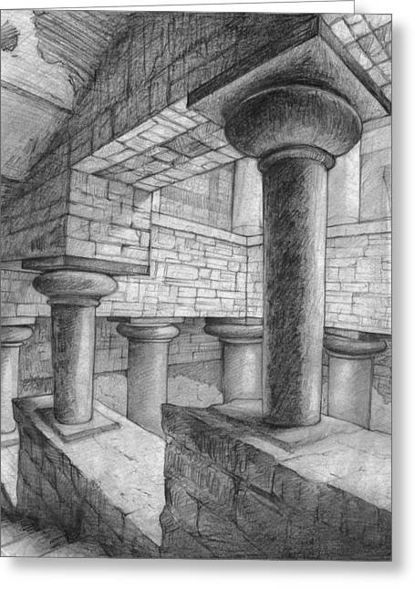 Stepping Stones Drawings Greeting Cards - Ancient Architecture Greeting Card by Nori Shirasu