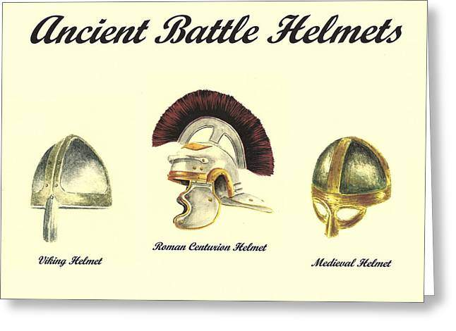 Vikings Paintings Greeting Cards - Ancient Battle Helmets Greeting Card by Michael Vigliotti