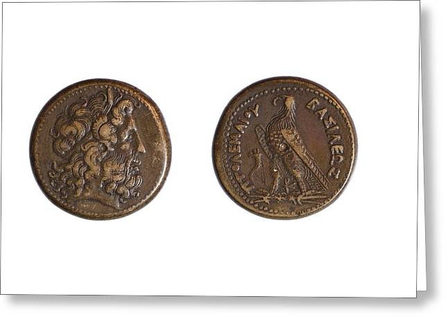 Ancient Bronze Coin Greeting Card by Science Photo Library