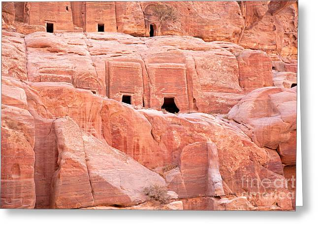 Jordan Photographs Greeting Cards - Ancient buildings in Petra Greeting Card by Jane Rix