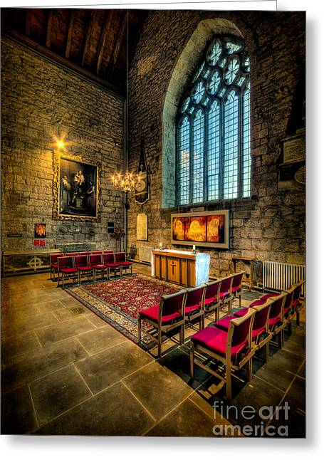 Window Panes Greeting Cards - Ancient Cathedral Greeting Card by Adrian Evans