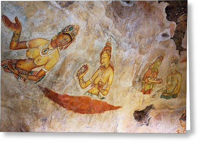 Ceylon Greeting Cards - Ancient Cave Painting in Sigiriya. Sri Lanka Greeting Card by Jenny Rainbow