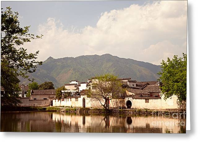 Chinese Ethnicity Greeting Cards - Ancient Chinese village of Hongcun China Greeting Card by Fototrav Print